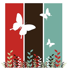 Butterflies and leaves background vector image