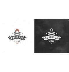 campfire logo emblem outdoor vector image