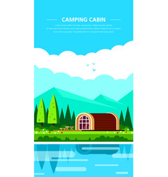 camping cabin banner design flat style vector image