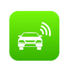 Car with wifi sign icon digital green vector