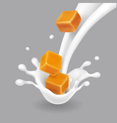 caramel in milk splash realistic vector image