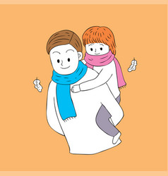 cartoon cute autumn father and daughter vector image
