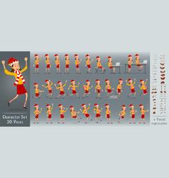 cartoon flat christmas girl character set vector image