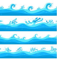 cartoon sea waves ocean flow game wave flat vector image
