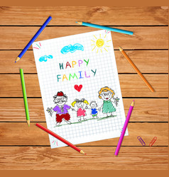 children colorful hand drawn of man woman and vector image