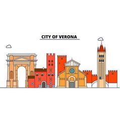 city of verona line travel landmark skylin vector image