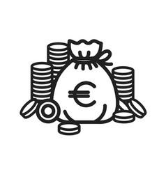 concept of euro money bag vector image