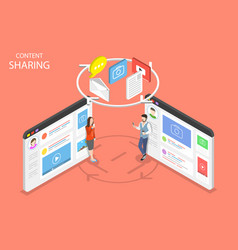 content sharing flat isometric concept vector image