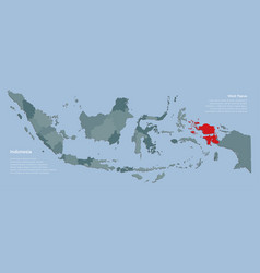Country indonesia map and province west papua vector