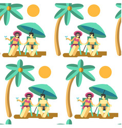 Couple relaxing seaside on summer vacation vector