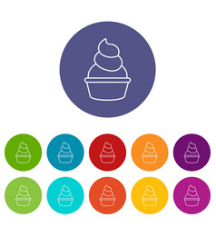 cream cupcake icons set color vector image