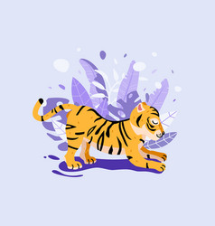 cute fat tiger card design vector image