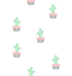 cute seamless pattern with cactus vector image