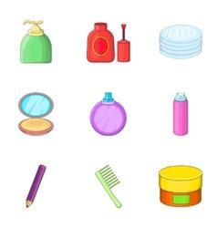 Decorative cosmetic icons set cartoon style vector