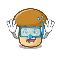 Diving porcini mushroom character cartoon vector