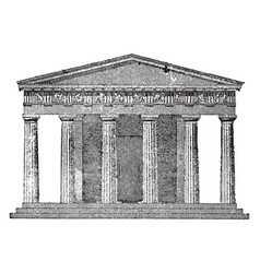 Doric temple the front elevation vintage engraving vector