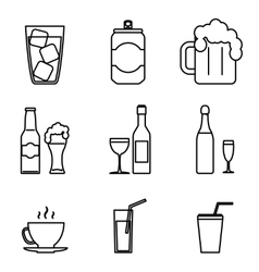 Drink Icons Line Art Isolated Set vector image vector image