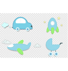 Fabric or paper plaid blue stickers of car rocket vector