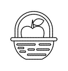 Farm basket apple fruit nature food vector