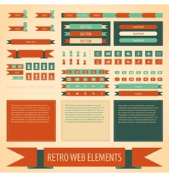 Flat retro vintage web elements set vector