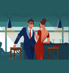 flat young romantic couple in restaurant on date vector image