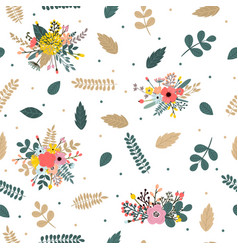 floral seamless pattern with leaves branches and vector image