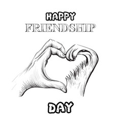friendship day card hands and pet forming vector image