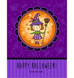 Halloween card with funny witch vector image