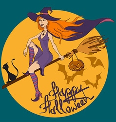 Halloween with witch vector