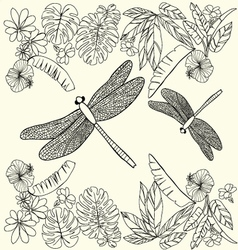 Hand drawn Tropical flowers leaves and dragonflies vector