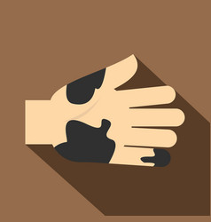 Hand with dirty stains icon flat style vector