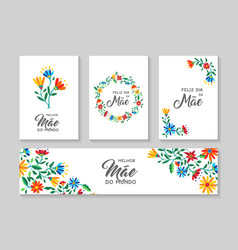Happy mother day portuguese flower art card set vector