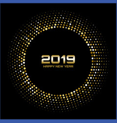 happy new year 2019 gold bright disco lights vector image