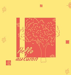 Hello autumn tree sketch vector