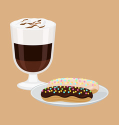 Hot drink with cakes poster vector