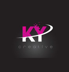 ky k y creative letters design with white pink vector image