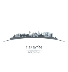 Lisbon Portugal city skyline silhouette vector