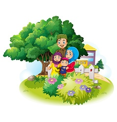 Muslim family in the garden vector
