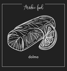 Nutritious dolma with thin slice of lemon from vector