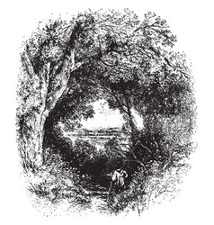 oerarched with oaks that form fantastic bowers is vector image
