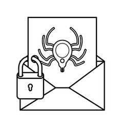 open letter with spider and padlock isolated icons vector image