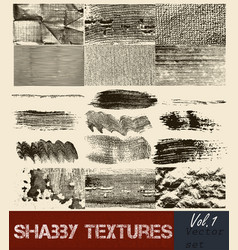 Pack of textures strokes and shabby surface vector