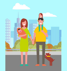 parents and kids walking in city leisure vector image