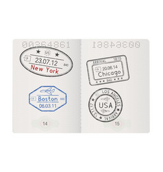 passport pages with american cities arrival stamps vector image