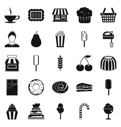 Pastry cook icons set simple style vector