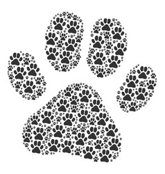 Paw footprint icon composition vector