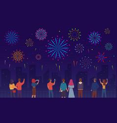people watching fireworks crowd men women vector image