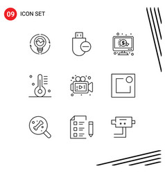 Pictogram set 9 simple outlines cooking ppc vector