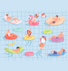 pool relax people male and female characters vector image
