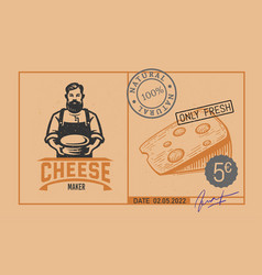 price tag cheese with cheese maker logo price for vector image
